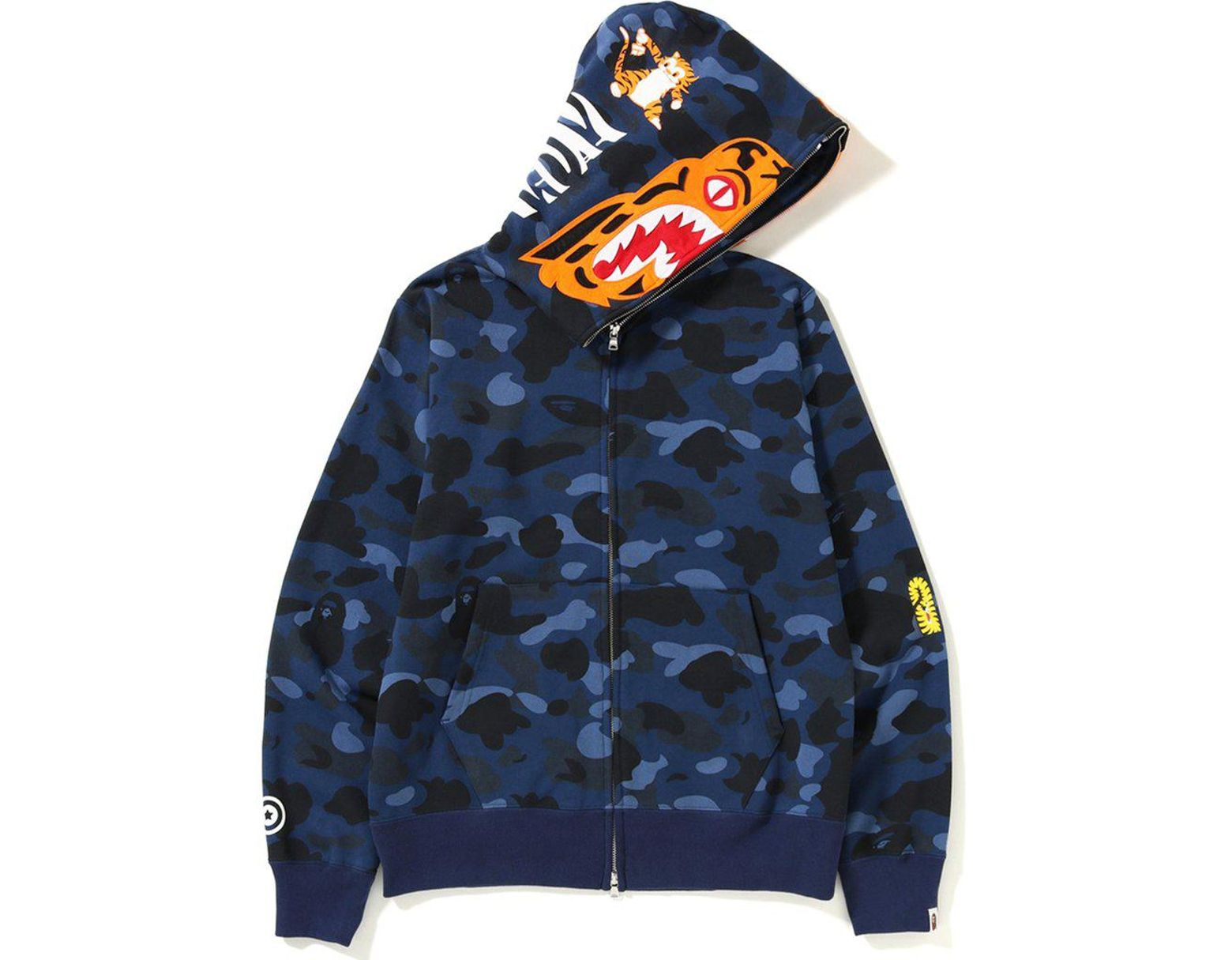 3123422d A Bathing Ape Color Camo Tiger Full Zip Hoodie Blue in Blue for Men - Lyst