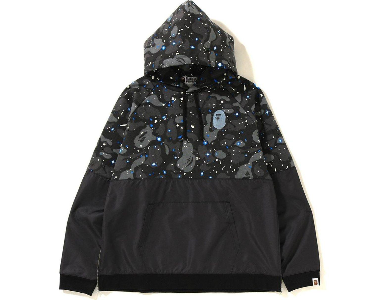 cab83d74 A Bathing Ape. Men's Space Camo Wide Side Zip Pullover Hoodie Black