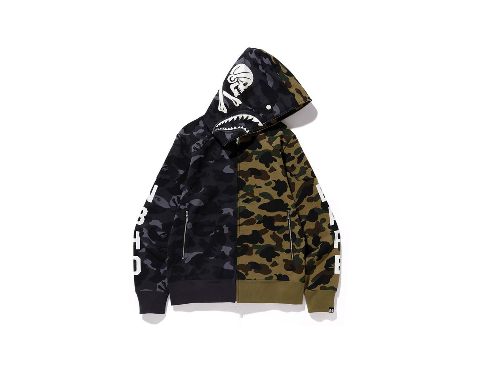 028aafa1c A Bathing Ape. Men's X Neighborhood Split Camo Shark Full Zip Hoodie ...
