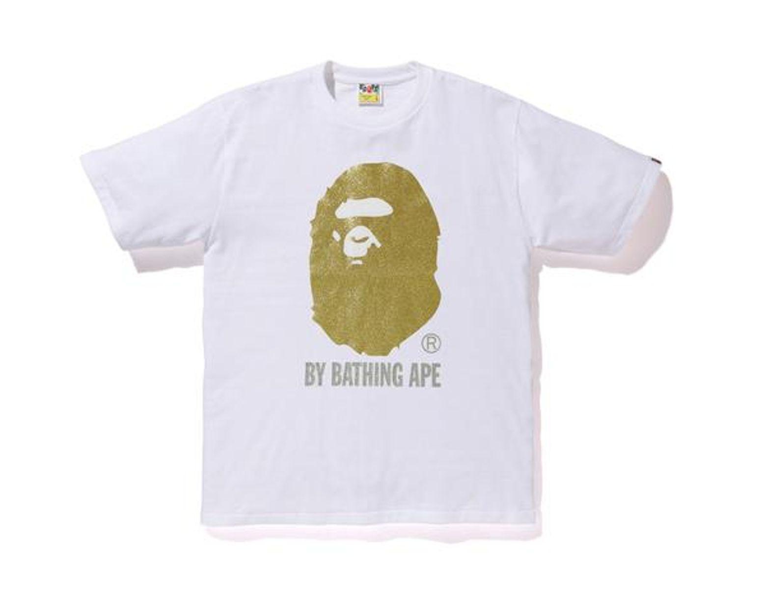 e8e8bce4f A Bathing Ape Glitter By Bathing Tee White/gold in White for Men - Lyst