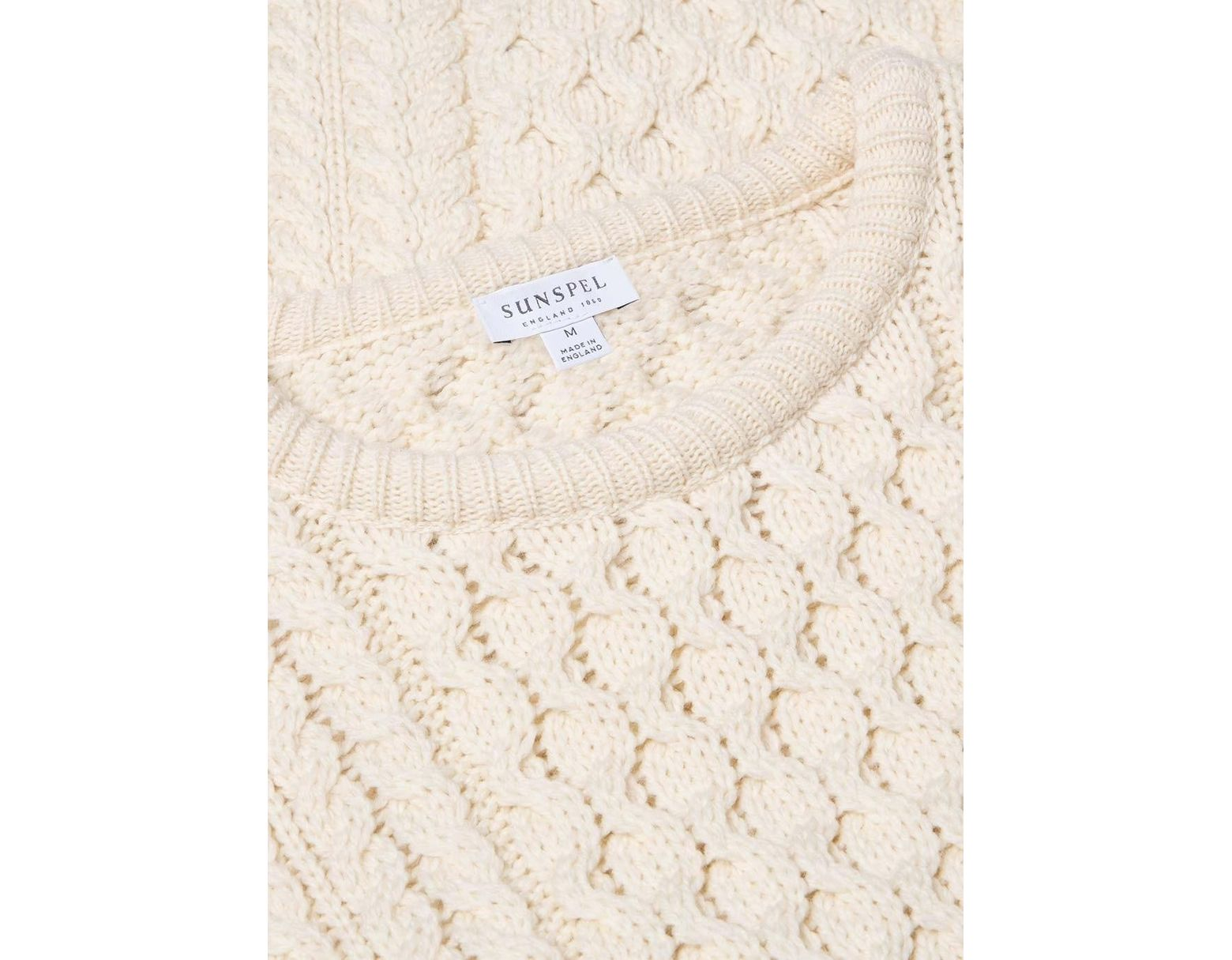 6deeadcd4bc3b7 Sunspel Men's Merino Wool Cable Knit Jumper In Archive White in White for  Men - Save 2% - Lyst