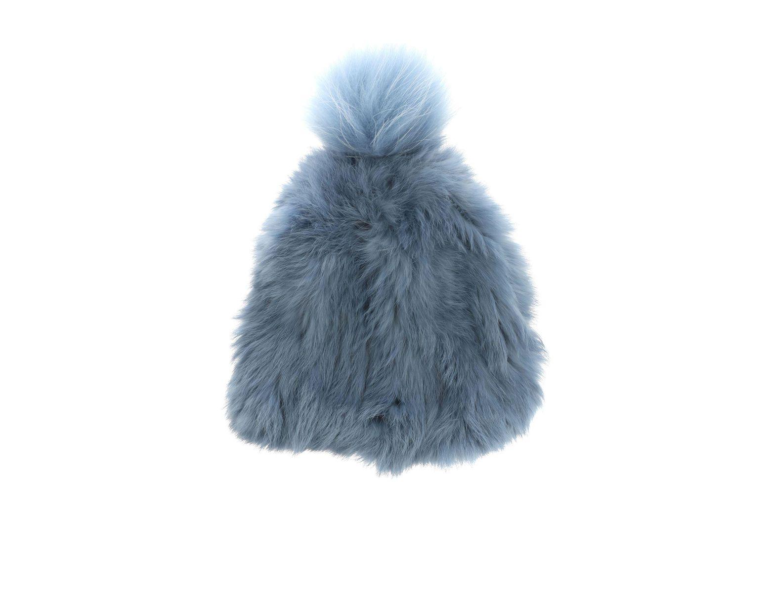 62f58ed5 Yves Salomon Bonnet Light-blue Fur Beanie in Blue - Lyst