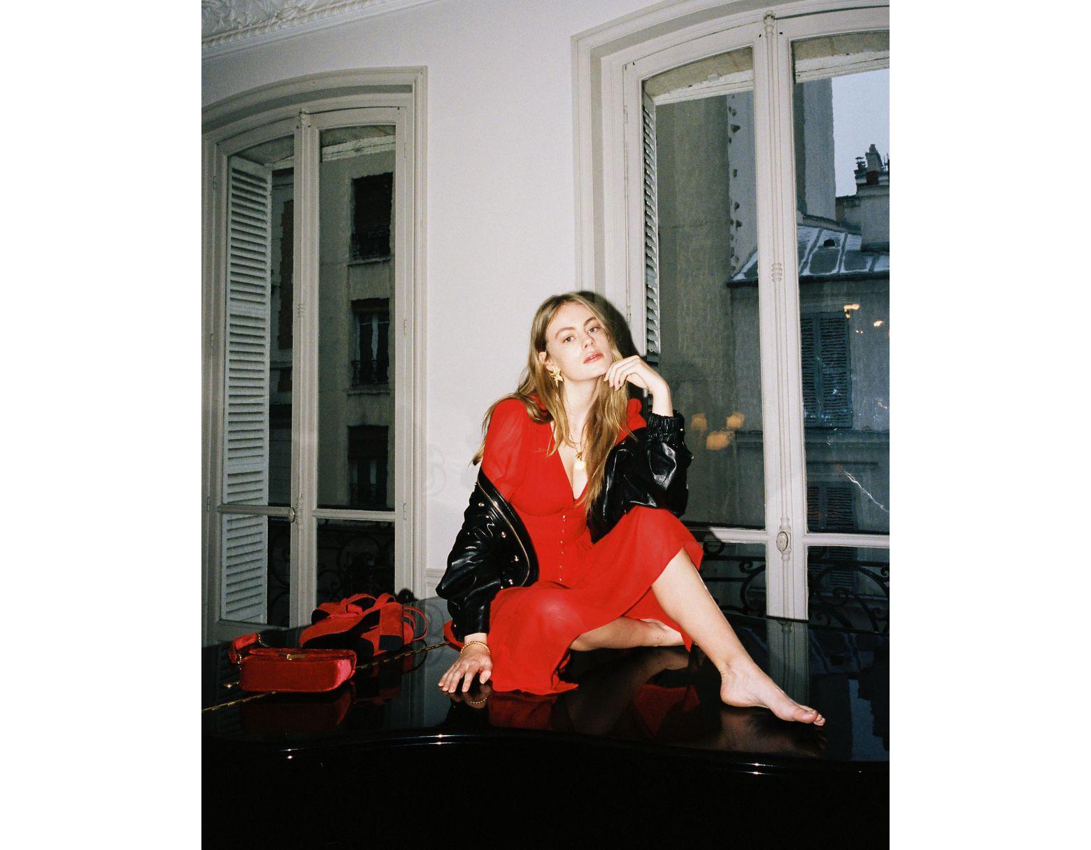 59d0446c4920 The Kooples Long Red Silk Muslin Dress in Red - Lyst
