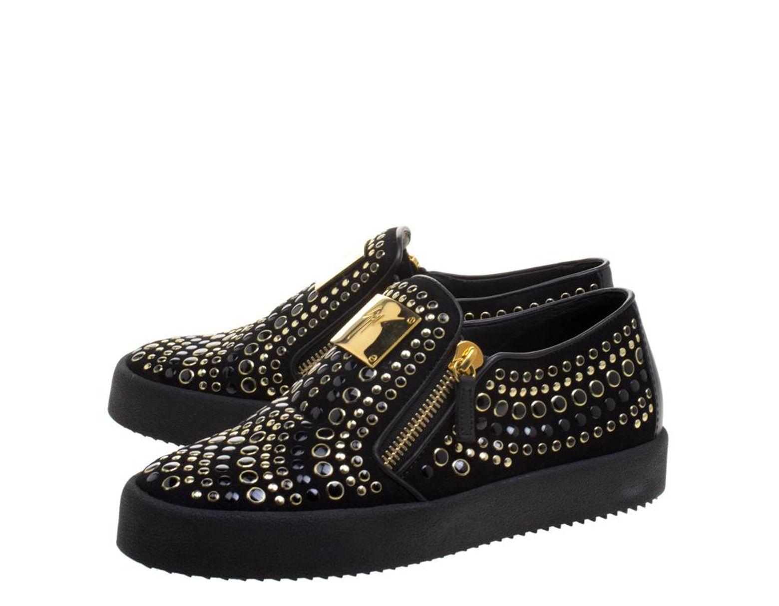 0abb6e3a9309b Giuseppe Zanotti Black Stud Embellished Suede Eve Slip On Sneakers Size 40  in Black - Lyst