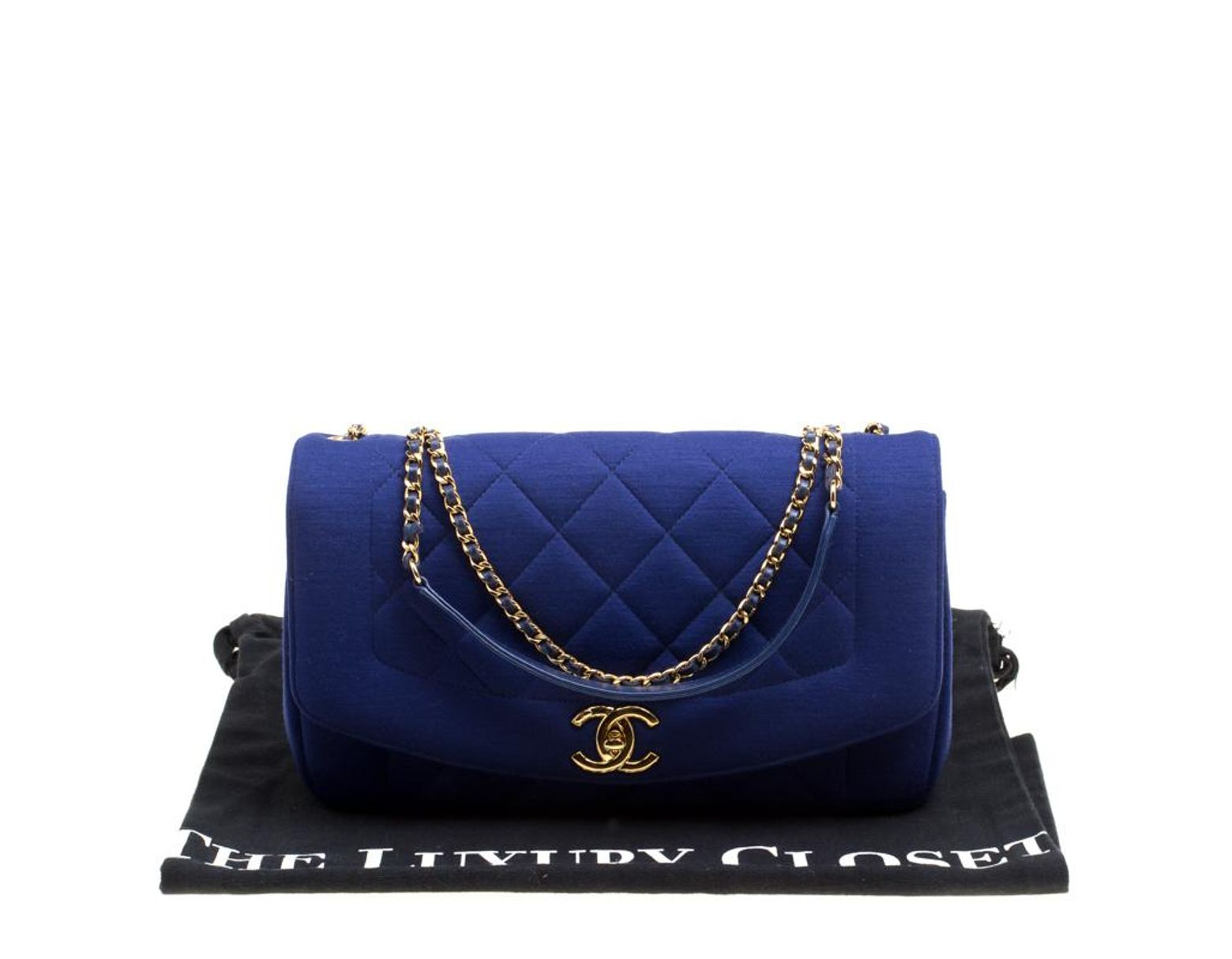 16a7f3b6190b Chanel Blue Quilted Jersey Diana Flap Bag in Blue - Lyst