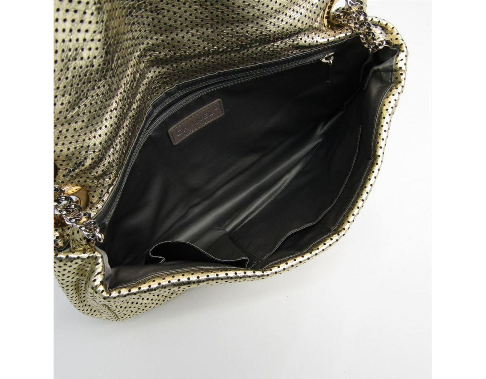 ec3e00564557 Chanel Gold Drill Perforated Leather 2.55 Reissue Classic Flap Bag in  Metallic - Lyst
