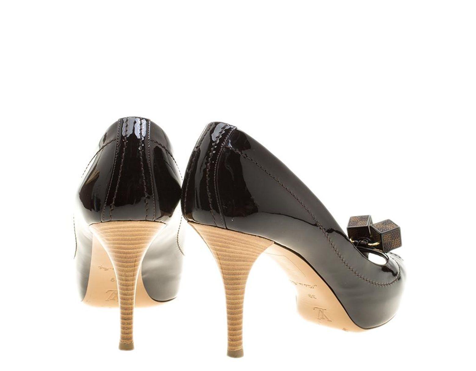 1aa5c6b831 Louis Vuitton Black Vernis Leather Dice Peep Toe Platform Pumps Size 39 in  Black - Lyst