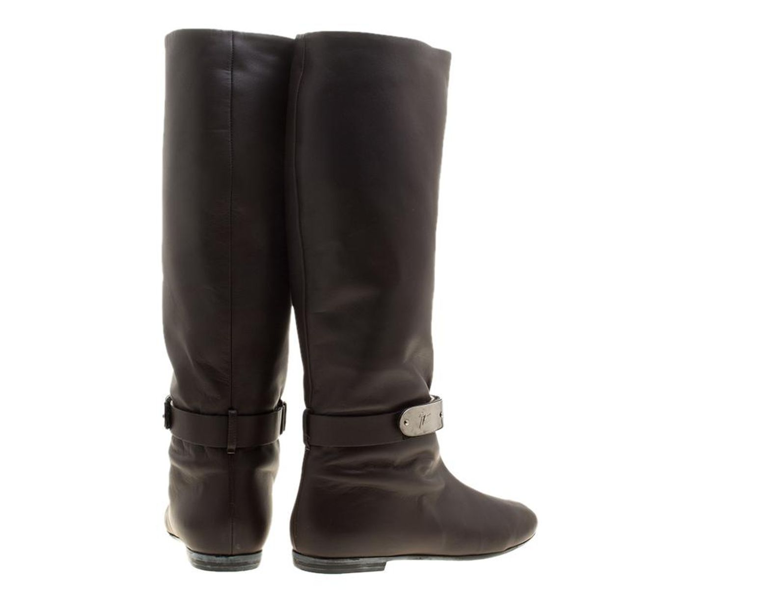 2cd3b183eeae1 Giuseppe Zanotti Brown Leather Logo Plaque Flat Over The Knee Boots Size 38  in Brown - Lyst