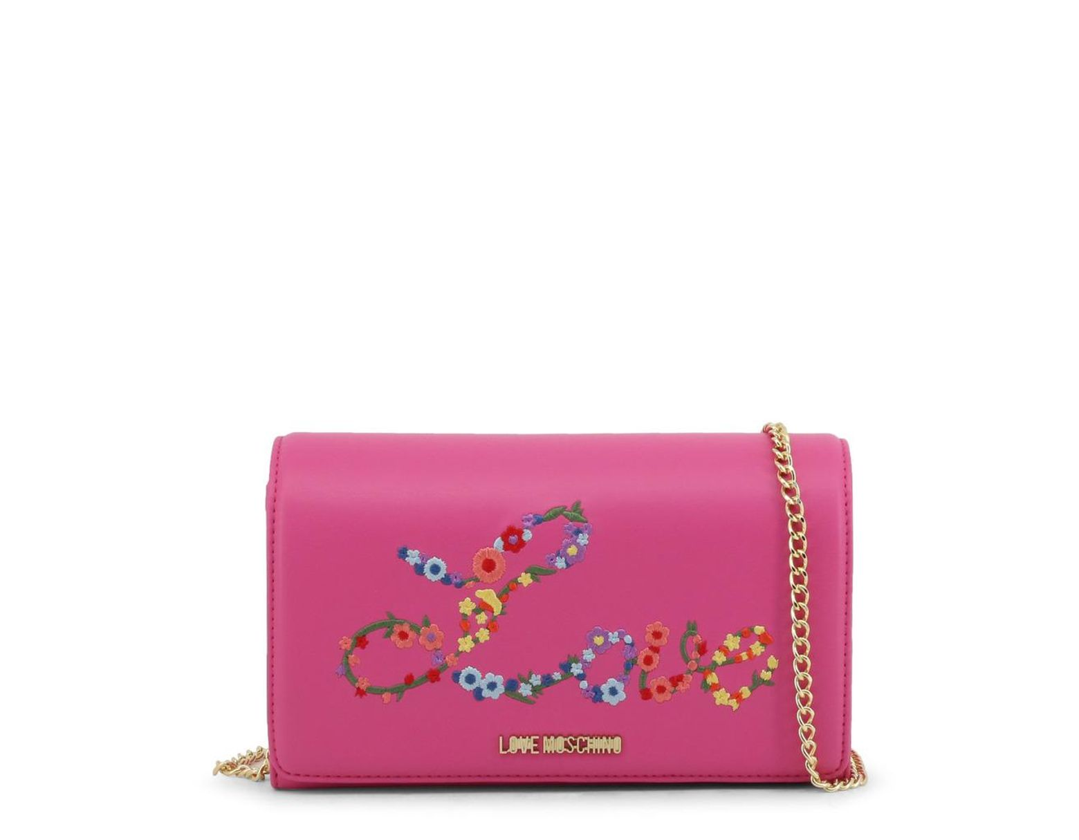 2f64ceaa59e Moschino Love Pink Faux Leather Embroidered Woc Crossbody Bag in Pink - Lyst