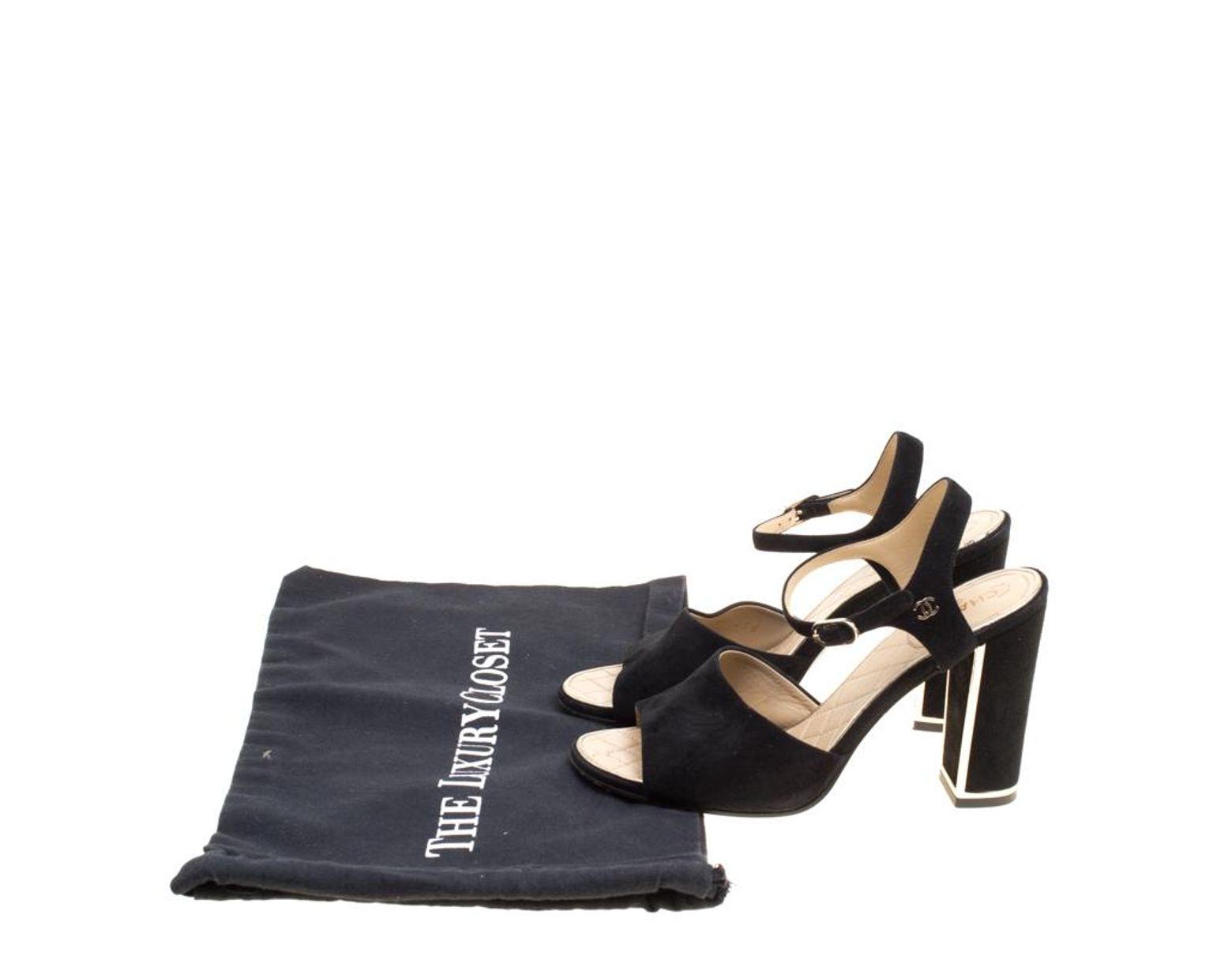 8d8dc0826 Lyst - Chanel Black Suede Ankle Strap Block Heel Sandals Size 37.5 in Black