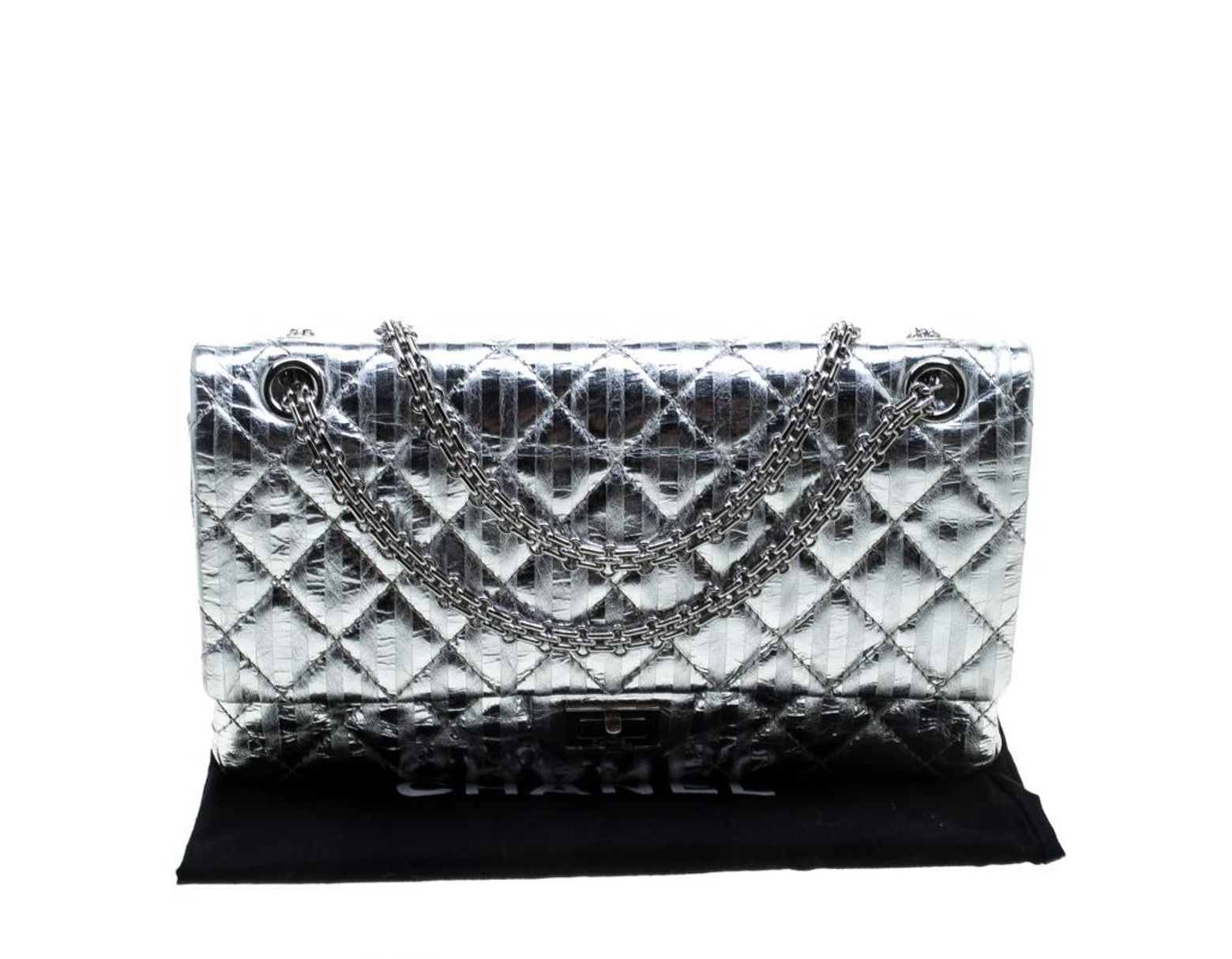 1bf750cf433f Chanel Silver Quilted Leather Striped Reissue 2.55 Classic 226 Flap Bag in  Metallic - Lyst