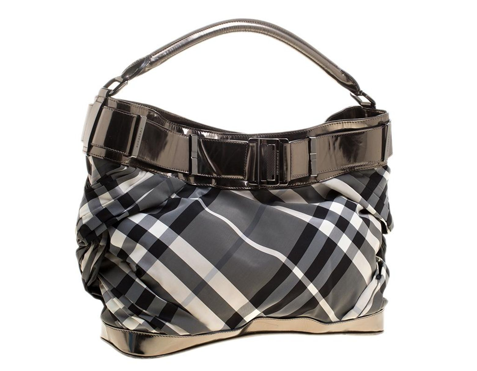 27be71bf1b85 Lyst - Burberry Metallic Grey Beat Check Nylon And Leather Shoulder ...