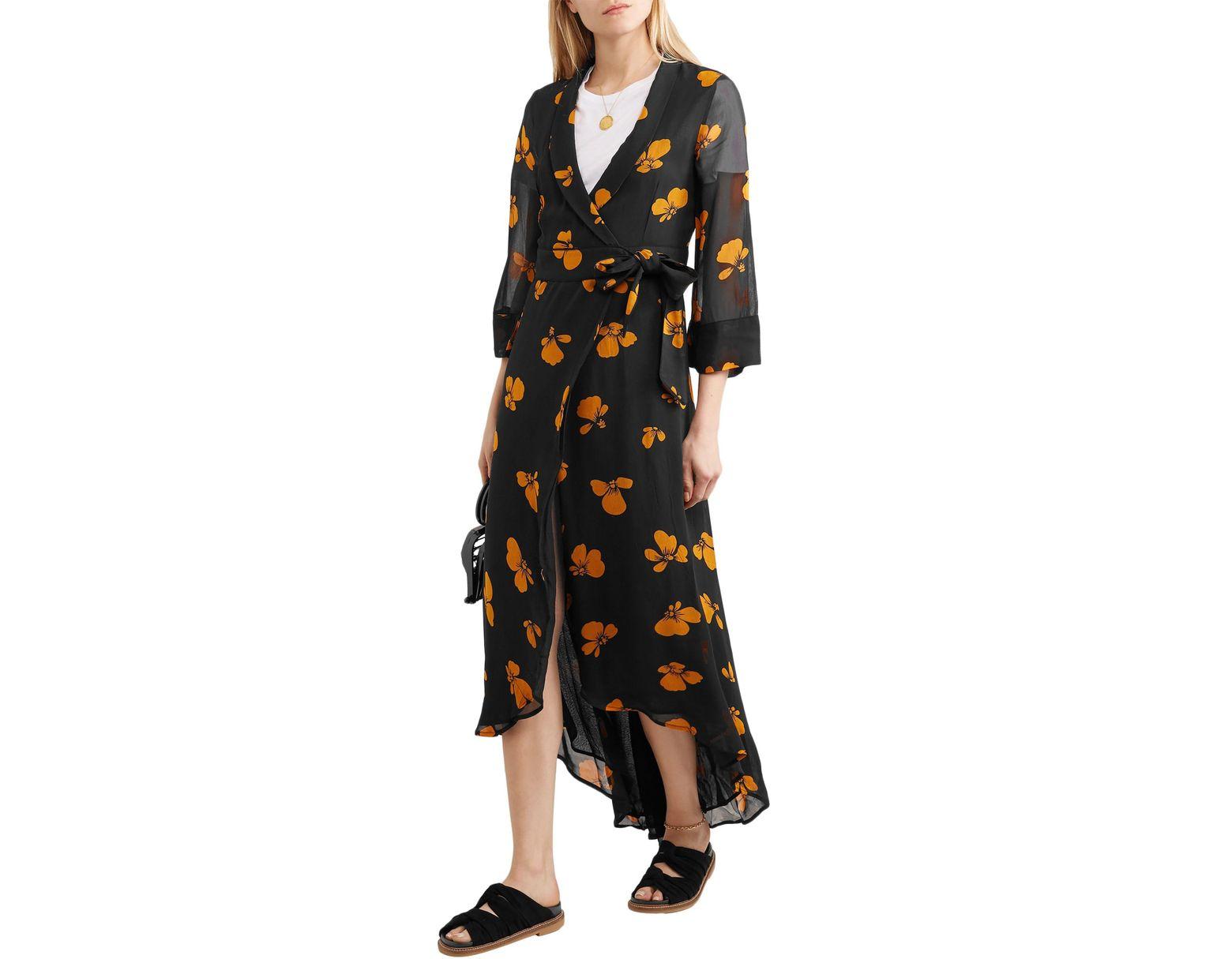 e4a58406 Ganni Woman Fairfax Floral-print Chiffon Wrap Dress Black in Black - Save 50%  - Lyst
