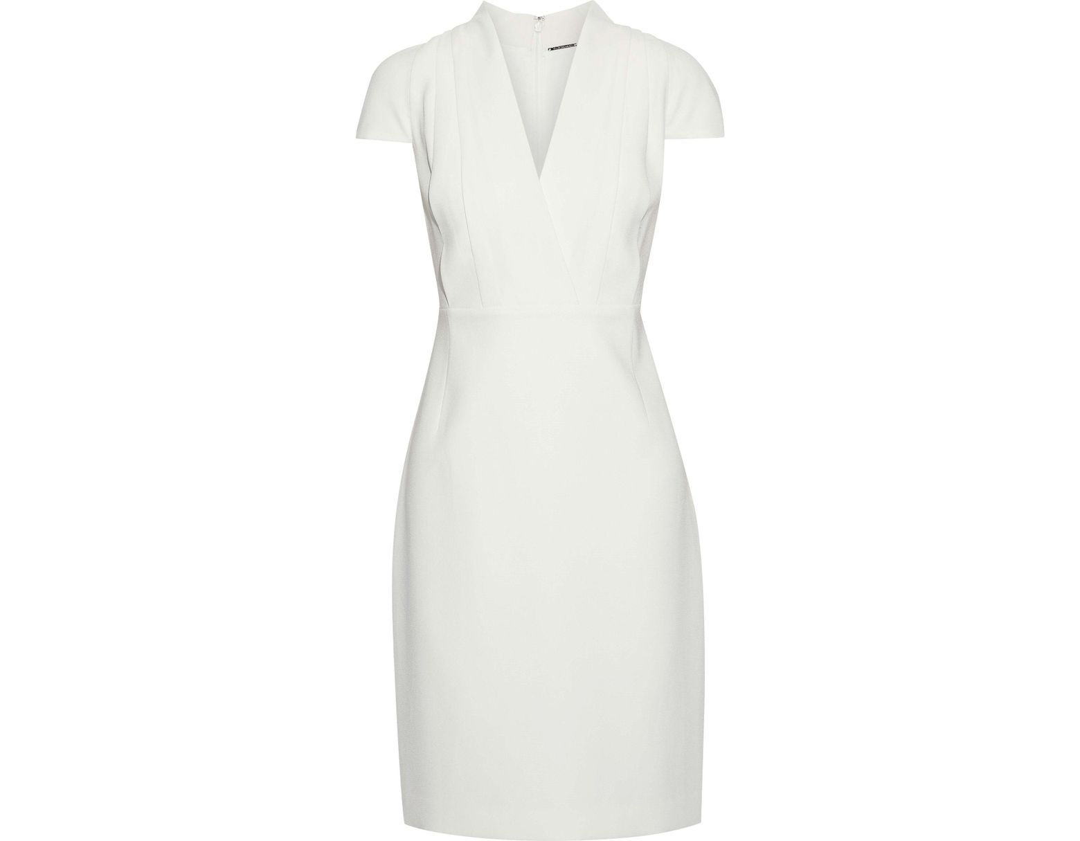 71322877 Elie Tahari Woman Gerarda Pleated Crepe Dress Ivory in White - Lyst