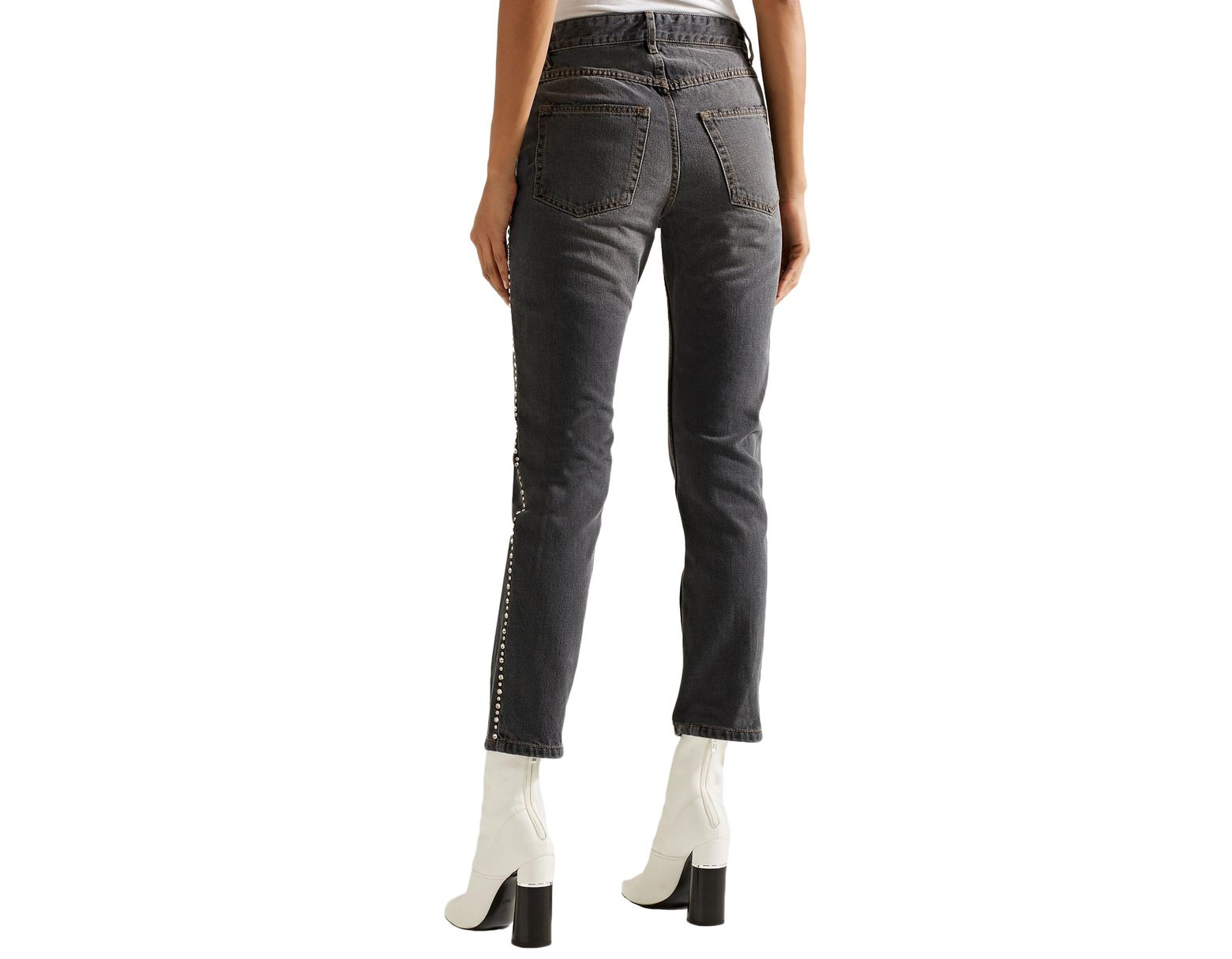 af8a63bb Isabel Marant Woman Ulyff Crystal-embellished High-rise Slim-leg Jeans Dark  Gray in Gray - Save 29% - Lyst