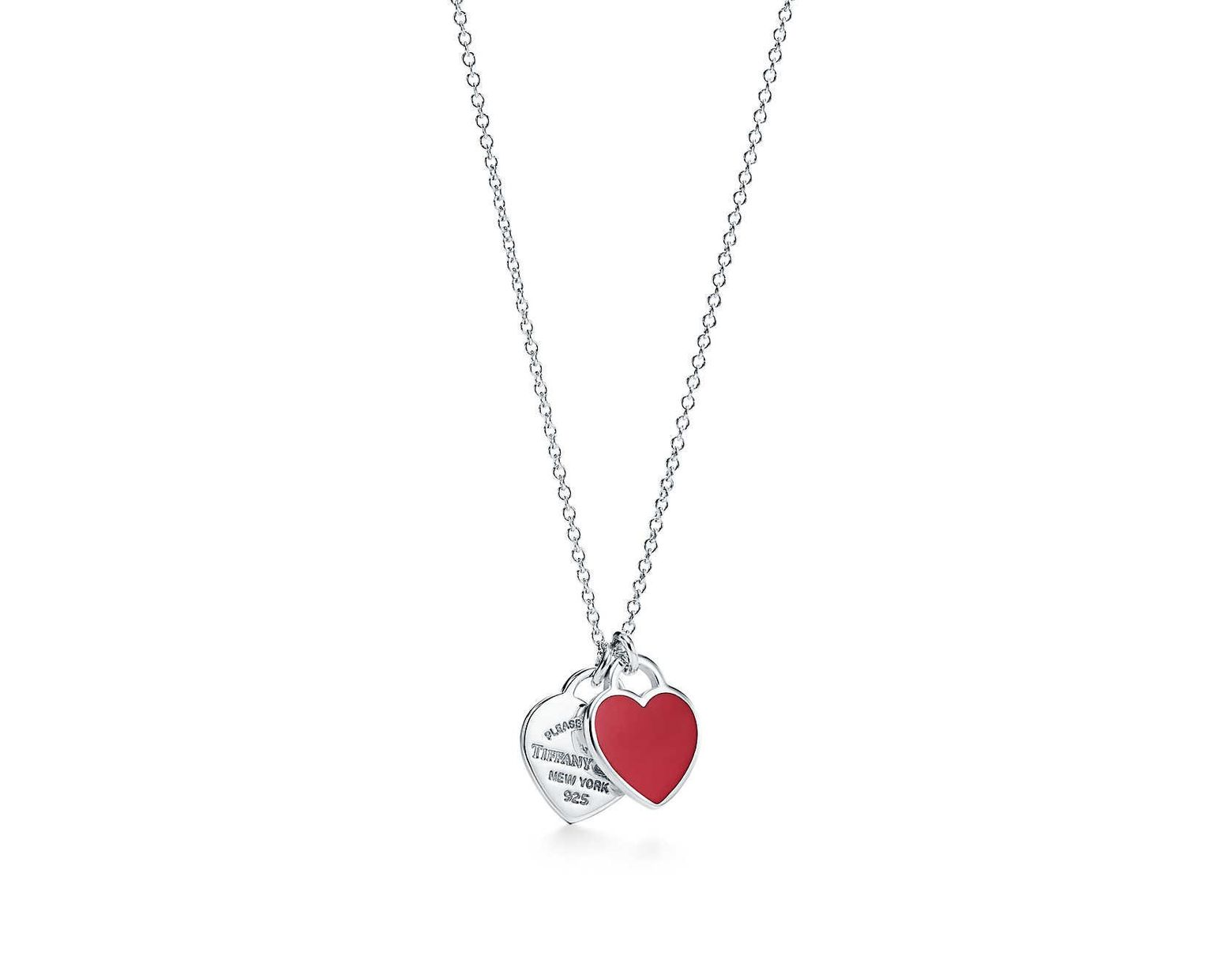 fae367a32 Tiffany & Co. Return To Tiffanytm Mini Double Heart Tag Pendant In Silver  With Enamel Finish in Metallic - Lyst