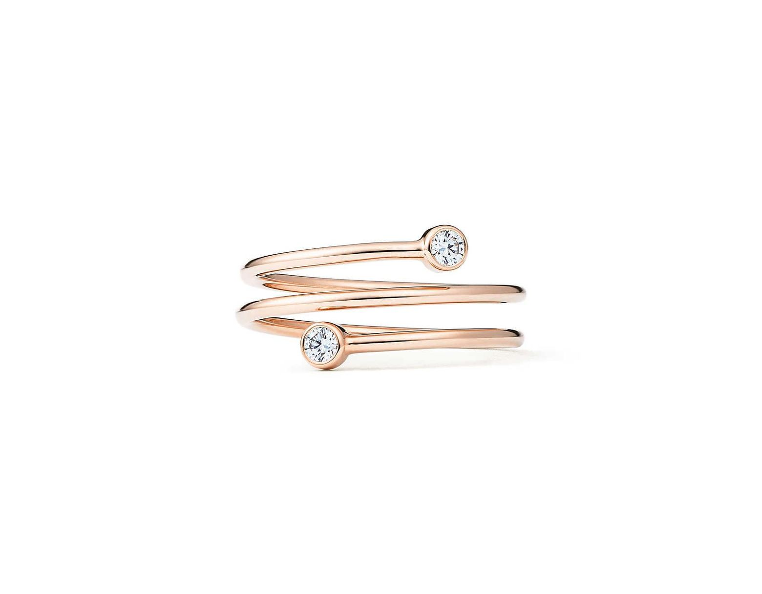 6c7952d44 Tiffany & Co. Elsa Peretti® Diamond Hoop Three-row Ring In 18k Rose Gold  With Diamonds - Size 8 - Lyst