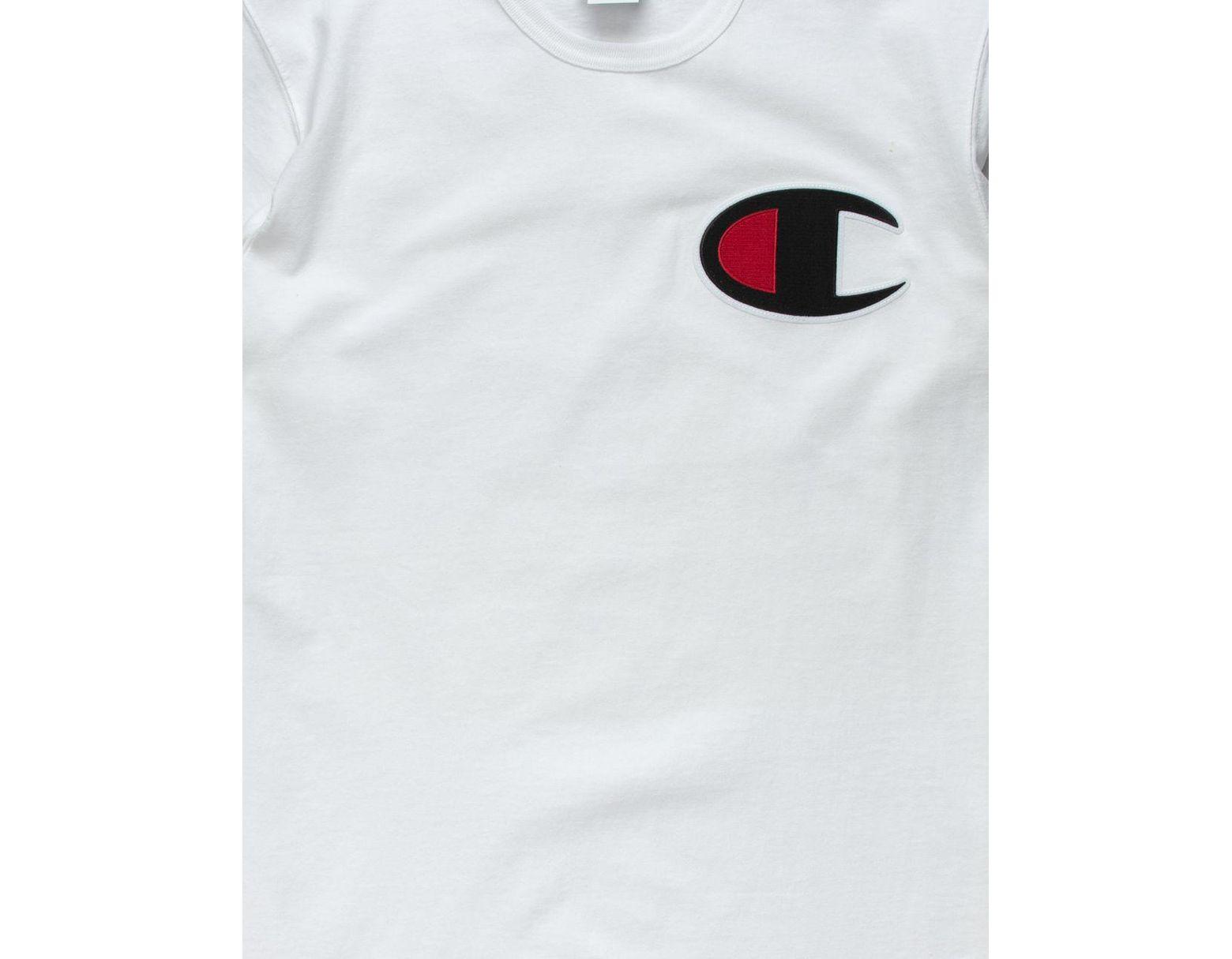 Lyst champion c applique logo white mens t shirt in white