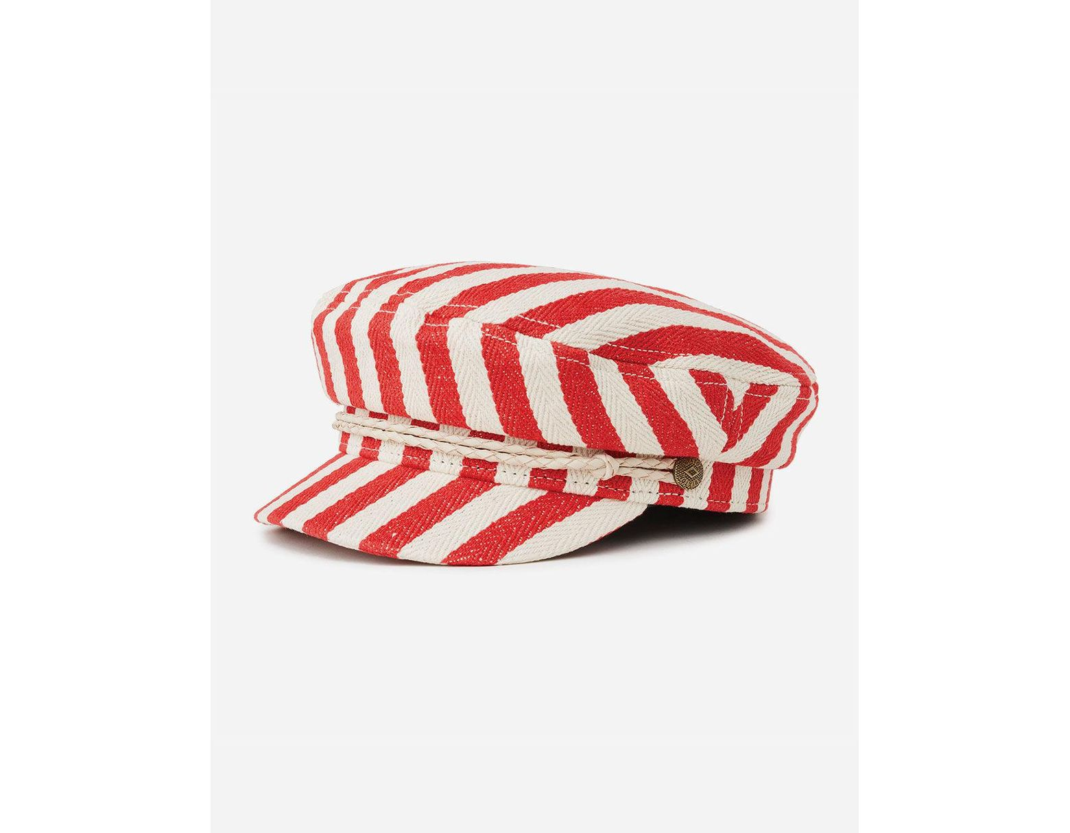 new style 6c300 7b639 Brixton Red   Natural Striped Fiddler Cap in Red - Save 52% - Lyst