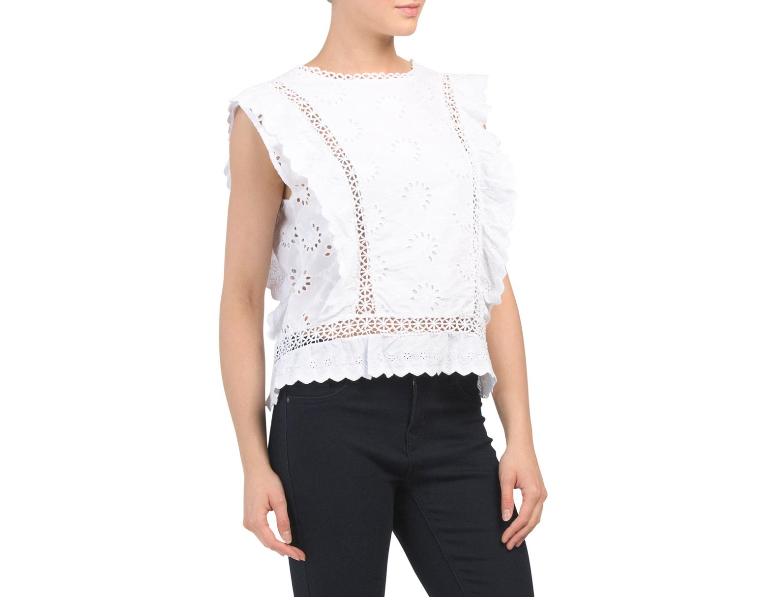172ccba0ccba2a Tj Maxx Made In Italy Eyelet Crochet Crop Top in White - Lyst