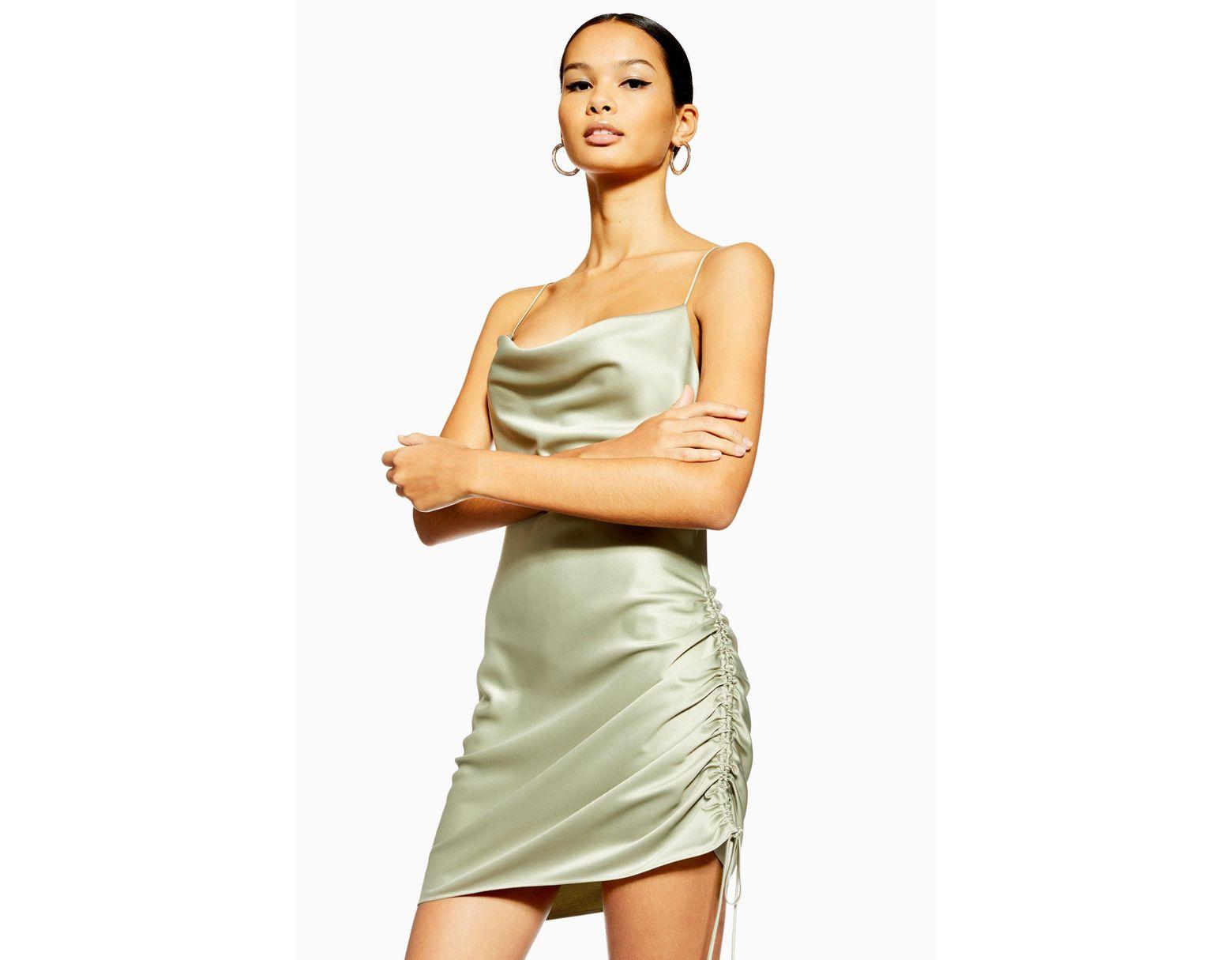 626ac62b07a58 TOPSHOP Ruched Satin Mini Slip Dress - Lyst
