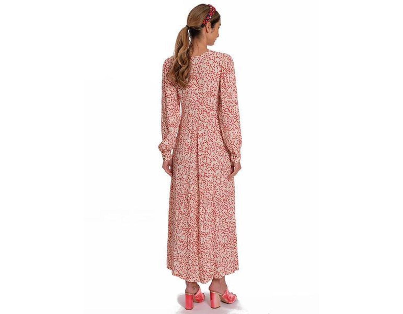 b06a6d03 Ganni Crepe Floral Maxi Dress in Pink - Lyst