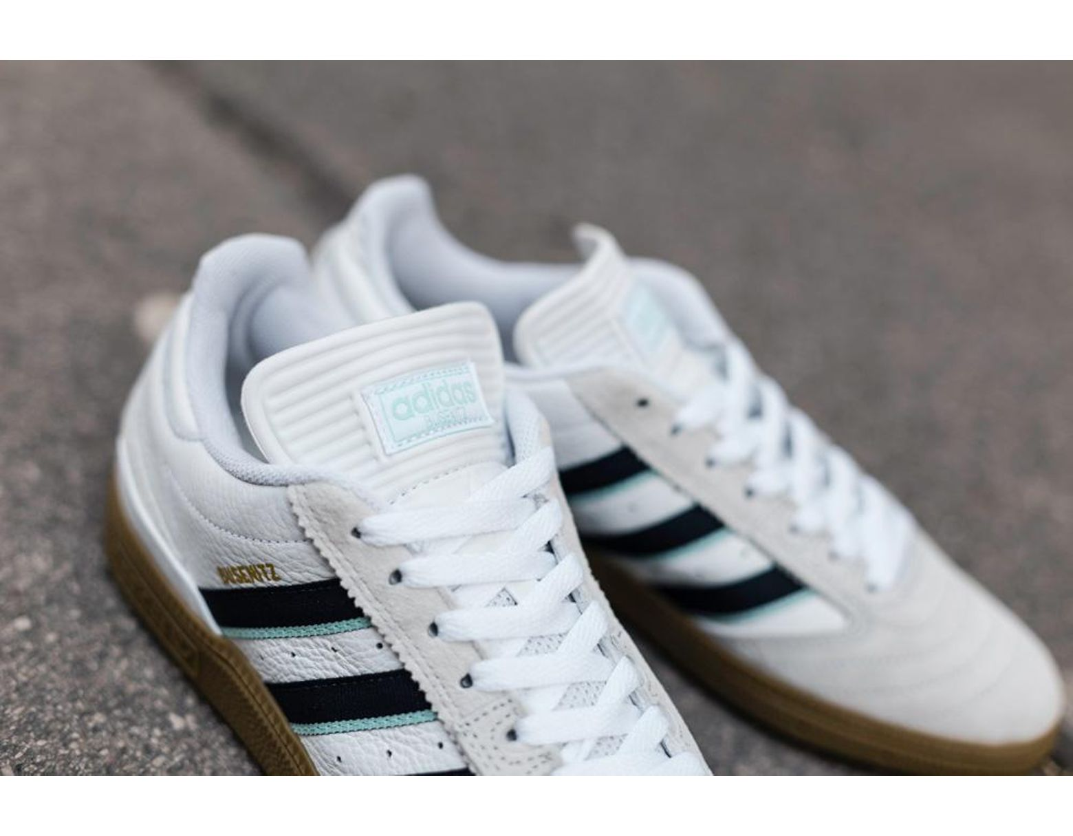 d5bfc252 adidas White Collegiate Burgundy Clear Mint Busenitz Sneaker in ...