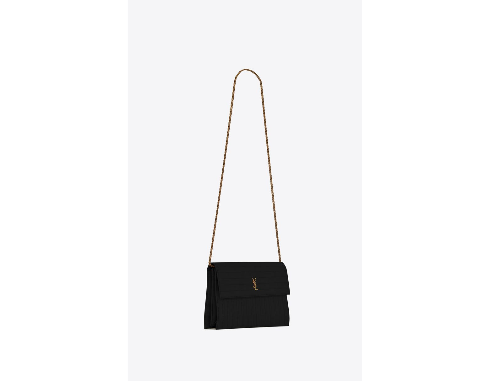 0231acc3a6 Saint Laurent Victoire Chain Bag In Crinkled Leather in Black - Lyst