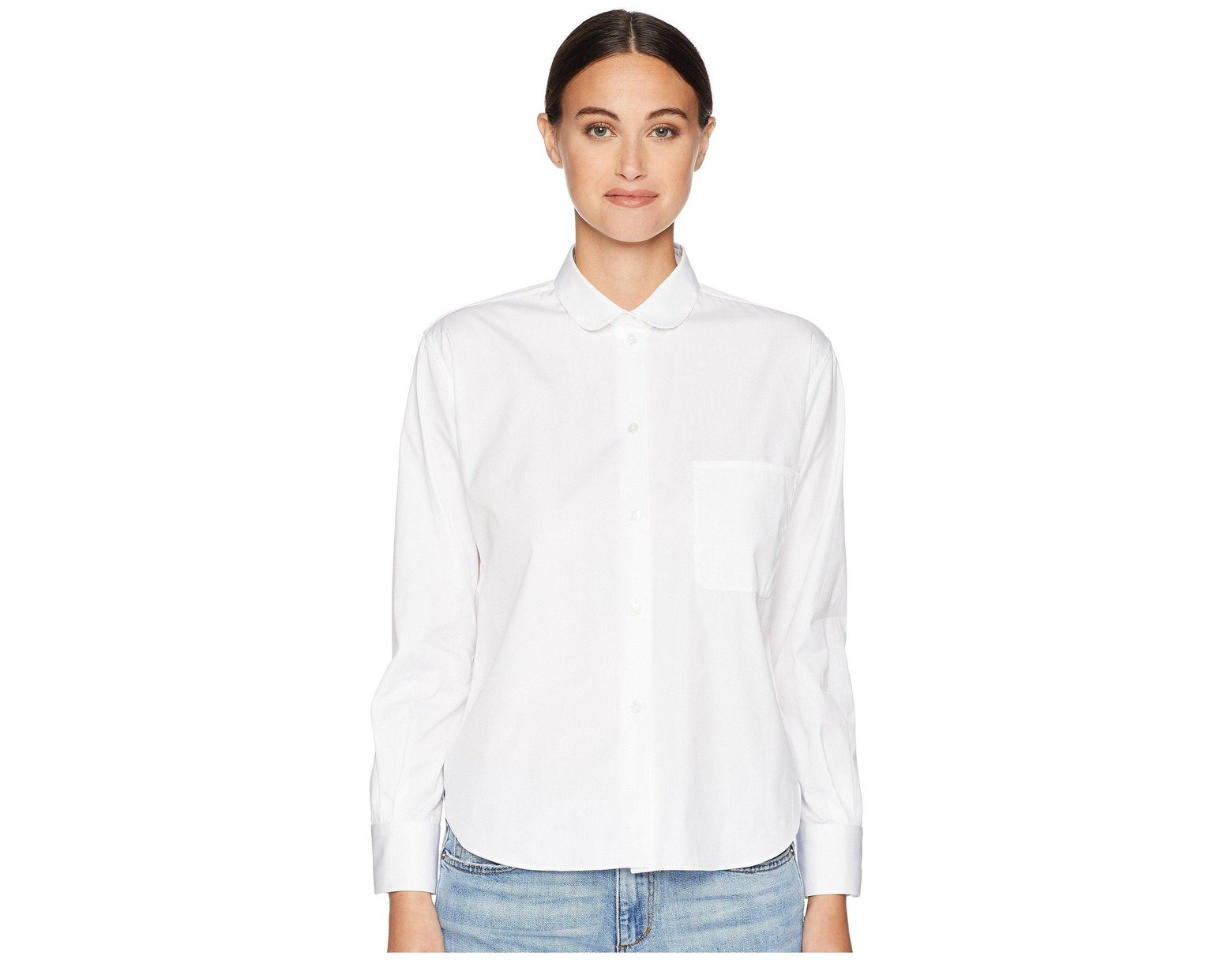 429acdcf6f94ac Jil Sander Navy Long Sleeve Shirt Round Collar Pocket On The Front in White  - Lyst