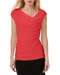 Laundry by Shelli Segal | Red Drape Front Knit Blouse | Lyst