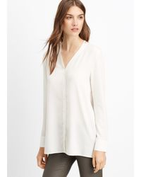 Vince | White Silk Button-up Blouse | Lyst