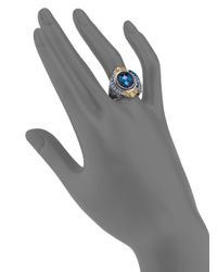 Konstantino | London Blue Topaz 18k Yellow Gold Sterling Silver Ring | Lyst