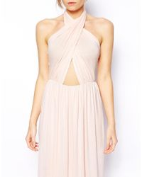 Love - Blue Jersey Cross Front Halter Neck Maxi Dress - Lyst