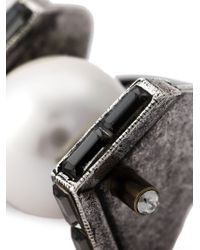 Lanvin | Metallic Geometric Pearl Ring | Lyst