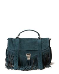 Proenza Schouler - Blue Medium Ps1 Fringe Suede Bag - Lyst