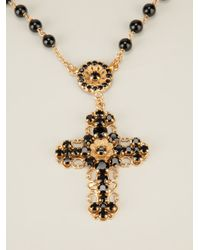 Dolce & Gabbana   Metallic Crucifix Brayer Bead Necklace   Lyst