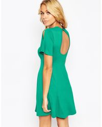 ASOS | Green Skater Dress With Split Sleeve And Keyhole Back | Lyst