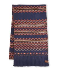Ben Sherman | Blue Knit Contrast Fair Isle Scarf for Men | Lyst