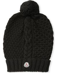Moncler - Cable-knit Wool Pom-pom Hat, Women's, Black - Lyst