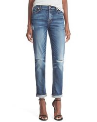7 For All Mankind - Blue 7 For All Mankind 'josefina' Mid Rise Boyfriend Jeans - Lyst