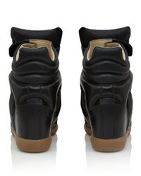 Isabel Marant - Black Calfskin 'Buck' High Top Hidden Wedge Sneakers - Lyst