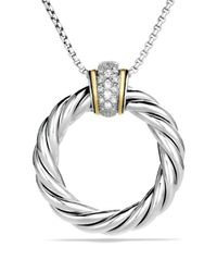 David Yurman | Metallic Cable Classics Large Pendant With Diamonds And Gold On Chain | Lyst