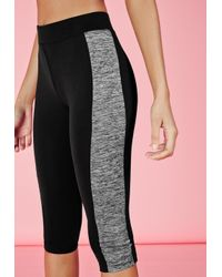 Missguided - Gray Active Contrast Panel Cropped Gym Leggings Grey Marl - Lyst