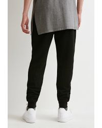 Forever 21 | Black Perforated Kangaroo Pocket Sweatpants for Men | Lyst