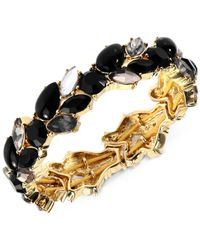Anne Klein - Metallic Gold-Tone Black And Clear Stone Cluster Stretch Bracelet - Lyst