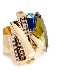 Iosselliani | Metallic Decò Crystal Ring | Lyst
