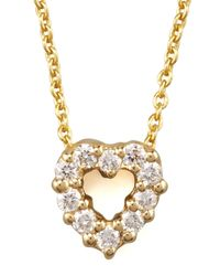 Roberto Coin - Metallic Pave Heart Necklace - Lyst