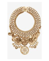 Express | Metallic Multi Chain Necklace With Hammered Medallions | Lyst