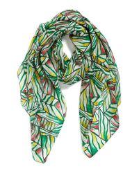 La Fiorentina | Green Geo Print Silk Scarf | Lyst