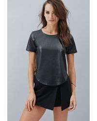 Forever 21 | Black Private Archives Perforated Metallic-back Top | Lyst
